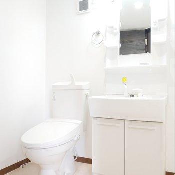 サニタリールームはトイレと洗面台がお出迎え!