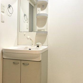 スタンダードタイプの洗面台。収納は少し少なめ。