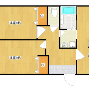 間取りは2LDK。各居室がゆったりしています。