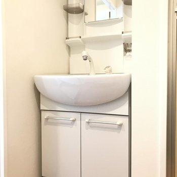 洗面台は大きなシャンプードレッサーで身支度も楽々◎