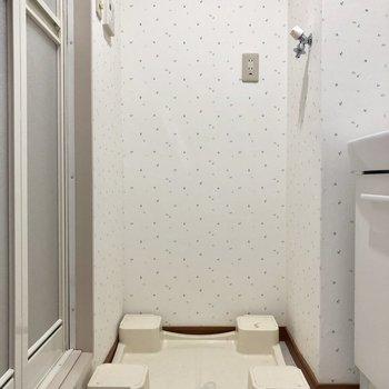 室内に洗濯置き場があります。壁紙は可愛らしい葉っぱ!※クリーニング前の写真です。