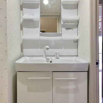 使いやすそうな洗面台。※クリーニング前の写真です。