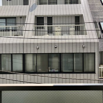 目の前は他の建物。3階なのでしょうがいないですね。※クリーニング前の写真です。