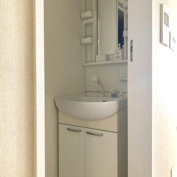 独立洗面台。使いやすそうです。※クリーニング前の写真です。