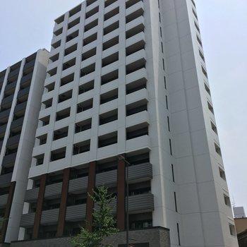 どっしり構えたこちらの建物。お部屋は9階です。