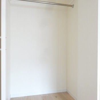 クローゼットは奥行きがあってしっかり入りそう。※写真は同間取り別室です。