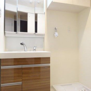 洗面台もキッチンとオソロなブラウン。※写真は同間取り別室です。