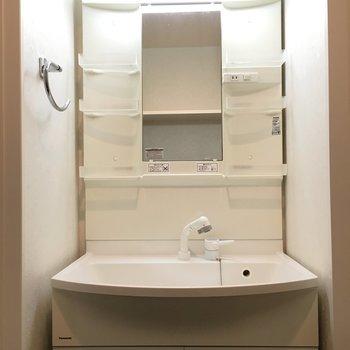 洗面台はこんな感じでシンプルなタイプ。(※写真は同じ間取りの10階のお部屋のもの)