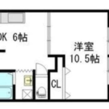 洋室が広めのお部屋です