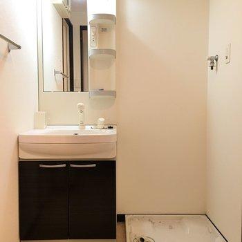 独立洗面台と洗濯パンはお隣どうし。(※こちらは清掃前の写真です)