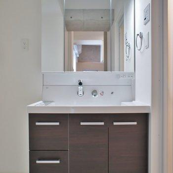 ゆったりサイズの洗面台。※写真は403号室のもの