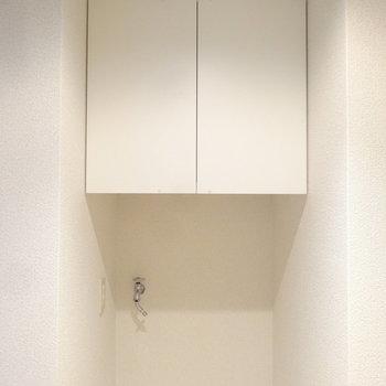 上部には収納棚もついていますよ。※写真は別室反転です