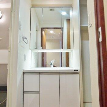 洗面も大きいのでセットしやすい。※写真は類似間取り別部屋のものです。
