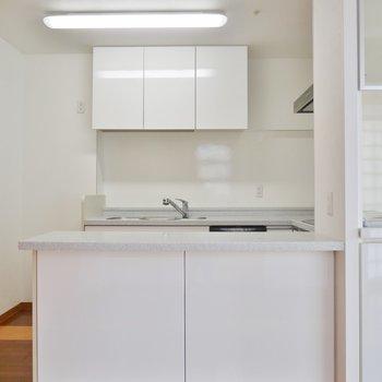 キッチンは白で清潔感◎※写真は類似間取り別部屋のものです。