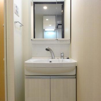 独立洗面台は清潔感◎シャワーつき。※写真は同間取り別部屋のものです。