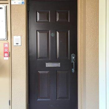 玄関ドア、レトロな洋館の扉みたい。