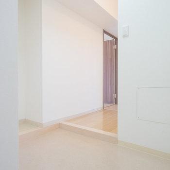 玄関はご覧の広さ。ベビーカー置けそうですね。