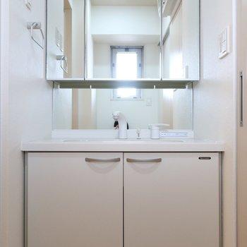 大きな鏡が嬉しいね◎※写真は11階の同間取り別部屋のものです