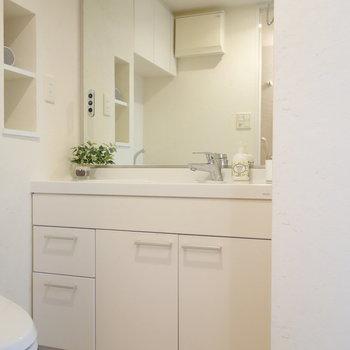 脱衣所に独立洗面台です。
