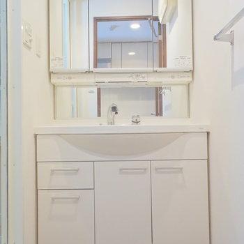 おおきな独立洗面台は脱衣所に。