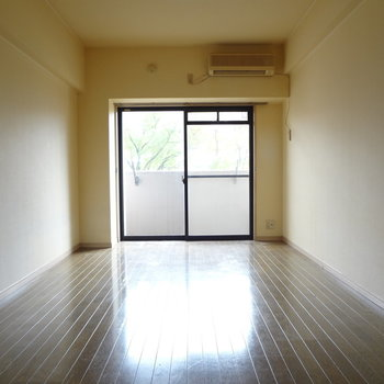 長細いお部屋です。ひかりもしっかり入ってきます。(※写真は反転間取りの3階のお部屋、清掃前のものです)