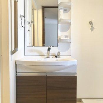 洗面台は大きなシャンプードレッサーで、使いやすいのです。