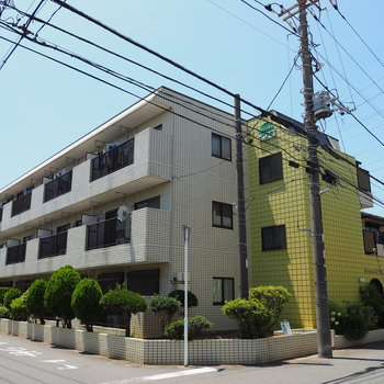 レモン色の3階建てマンション