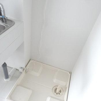 洗濯パンはキッチンの横にありますよ。(写真は同じ間取りの4階のお部屋のものです)