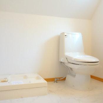 脱衣所に洗濯機置場とトイレです。