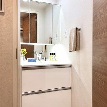 大きな鏡が付いた独立洗面台。※写真はモデルルームとなります
