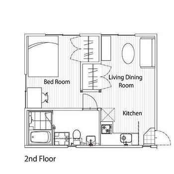 真ん中に収納のあるおおきな1R。※家具は配置例のため実際にはありません。