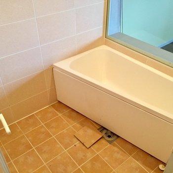 なんと寝室丸見え!斜めの浴槽が個性的
