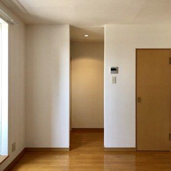 あの奥はキッチン。おっと右にも扉が。