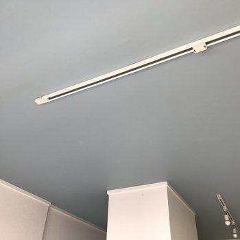 天井にはオシャレなライティングレールも。このブルーグレーもお気に入り♪(※写真は清掃前のものです)