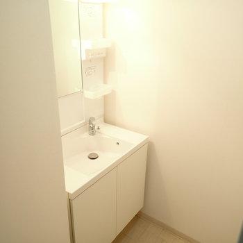 洗面台はその奥にあります。すこしゆとりがありますよ。