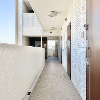 共用部】風の通る、明るい廊下。
