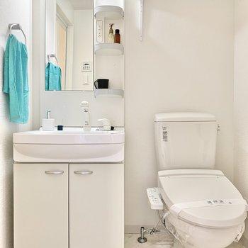洗面台とトイレは同室。ペーパーをストックできる棚も付いていますよ。