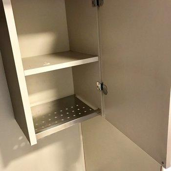 上の棚の下段はステンレス。洗ったままのお皿も置きたいな・・・笑