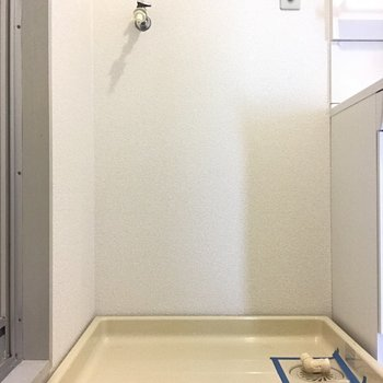 洗濯パンはお隣に。けっこう大きいタイプも置けそう。
