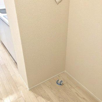 玄関の近くに洗濯機置場。ちょっとはみ出そうですね。