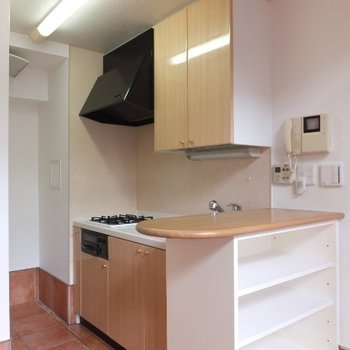 キッチンはカウンター付き※1階の同間取り別部屋の写真です