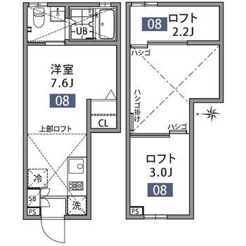 細長いので、家具の配置が空間をうまく使うコツ。