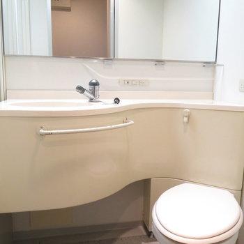 洗面台の鏡は大きくて見やすいですね〜