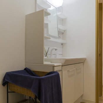 機能充実の洗面台。洗濯機は左手に設置可能。※家具はサンプルです
