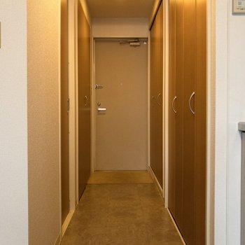 洋室から玄関前まで。右手前の扉を開くとクローゼットが。