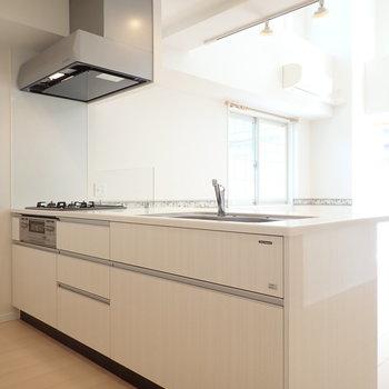 【LDK】ゆったり使えそうなキッチン、ふたりでの調理もできそうです。
