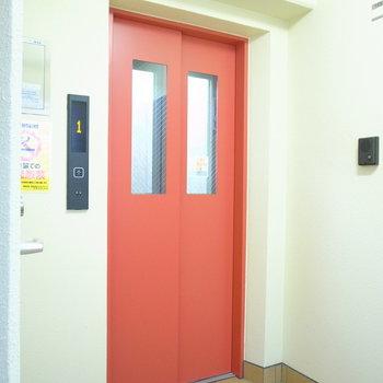 【共用部】1階でエレベーターが見当たらない…と思ったら、階段の陰に発見!