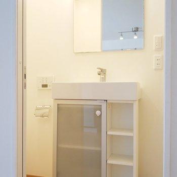 サニタリールームはスタイリッシュな洗面所がお出迎え。