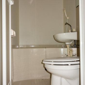 トイレとの3点ユニットタイプです。 ※フラッシュ撮影です