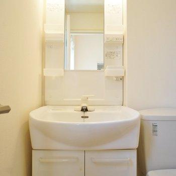 洗面台には収納ポケットもあります※写真は前回募集時のものです